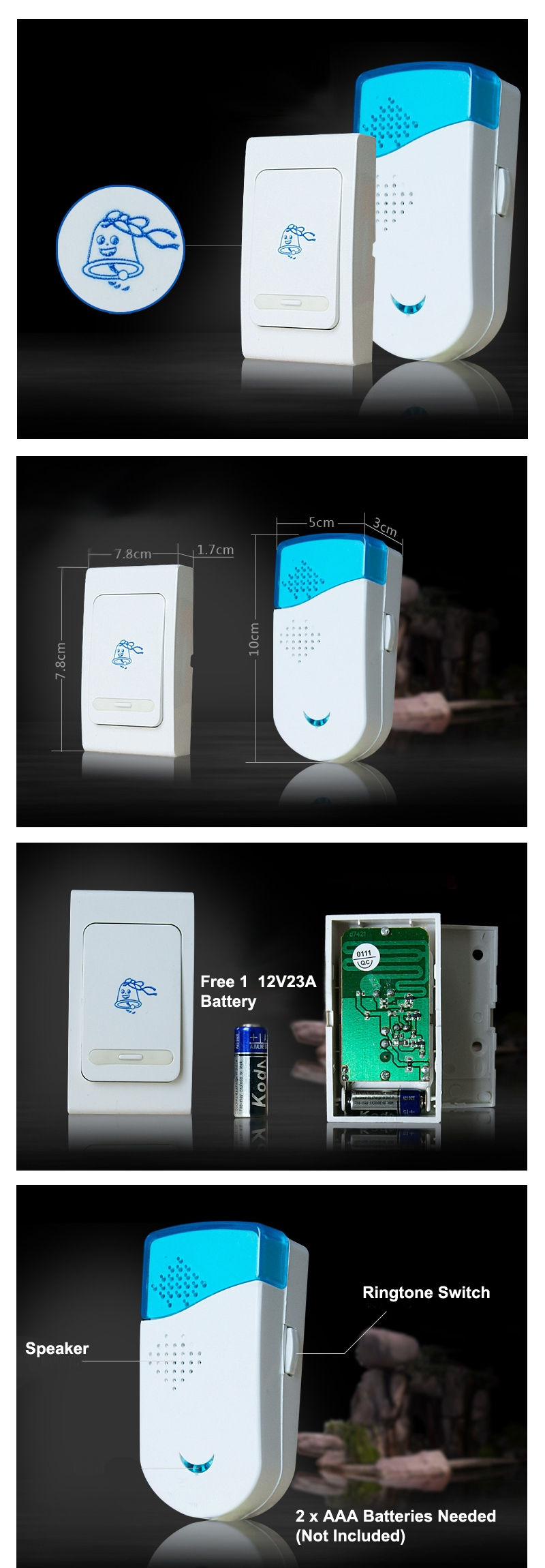 battery operated doorbell wireless door chime apartment